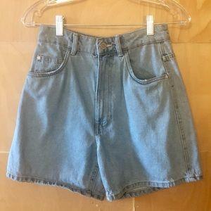 Zara Light Wash Mom Jean Bermuda Shorts